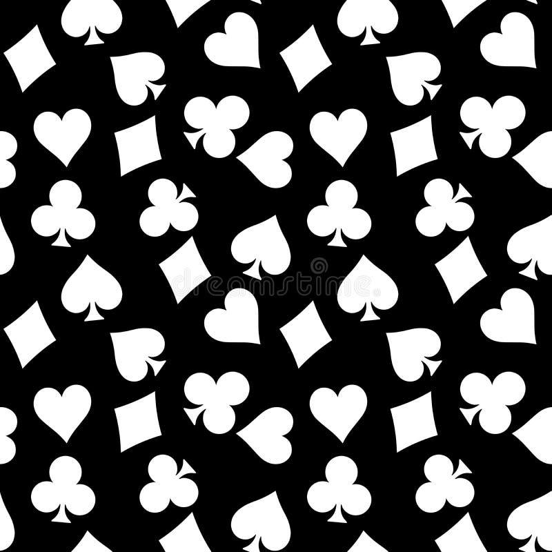 De naadloze patroonachtergrond van witte pook past - harten, clubs, spades en diamanten - op zwarte achtergrond aan casino vector illustratie