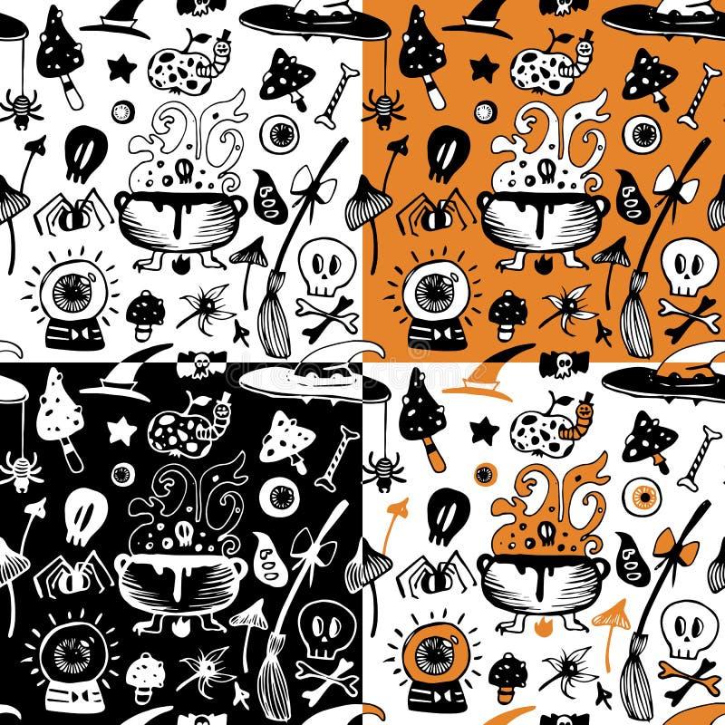 De naadloze reeks van Halloween achtergronden met heksenelementen vector illustratie