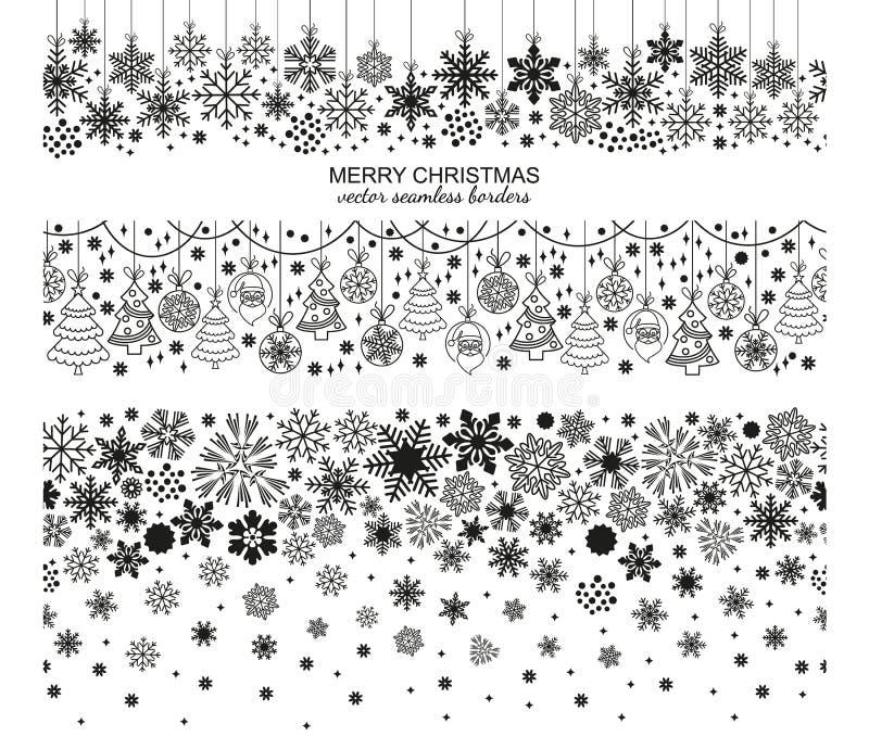 De naadloze reeks van de sneeuwvlokgrens, Kerstmisontwerp royalty-vrije illustratie