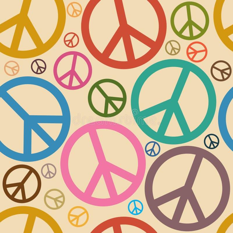 De naadloze Retro Achtergrond van het Symbool van de Vrede vector illustratie