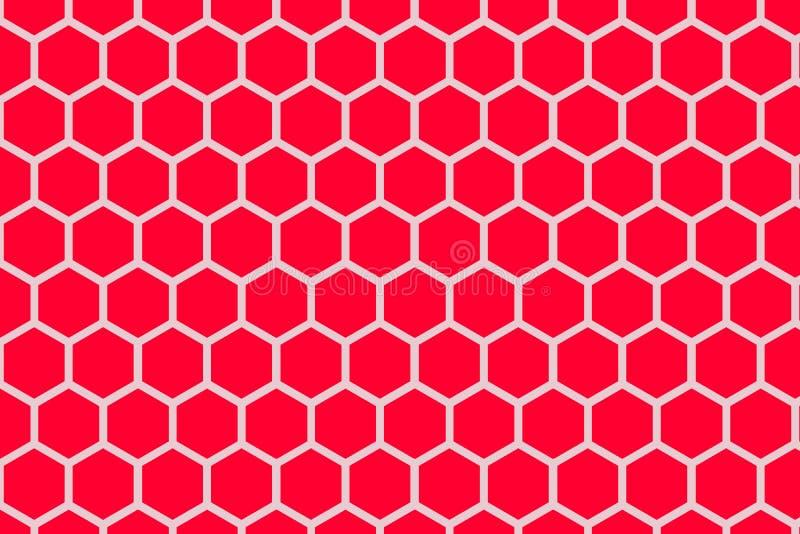De naadloze rode kleur van het honingraatpatroon, Rode Samenvatting vector illustratie
