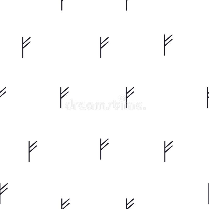 De naadloze rune van patroonfehu F op witte achtergrond, vectoreps 10 stock illustratie