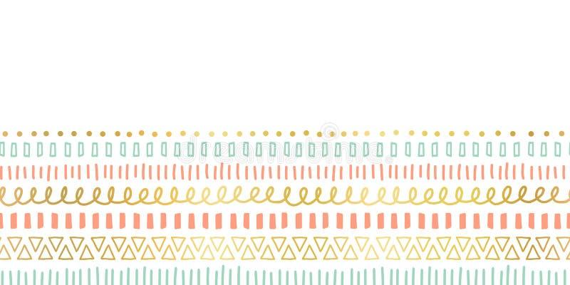 De naadloze slagen van de grenskrabbel, lijnen die, driehoeken vectorpatroon herhalen Etnische en stammenmotieven, gouden folieel stock illustratie