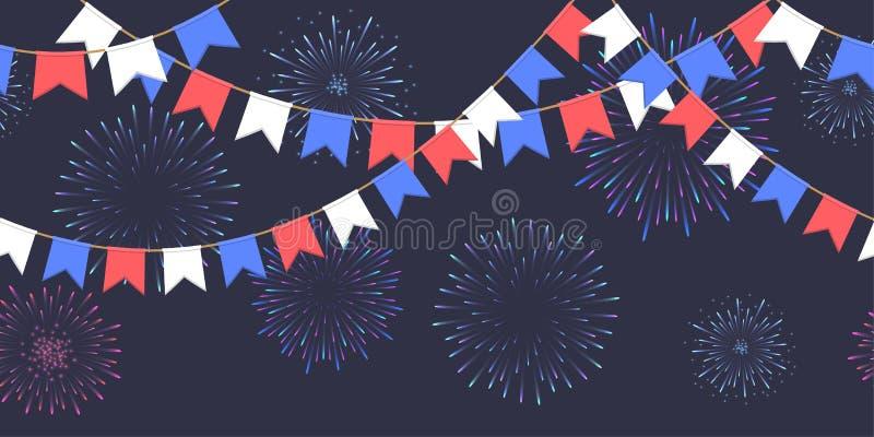 De naadloze slinger met vieringsvlaggen ketent, witte, blauwe, rode pennons en begroeting op donker vuurwerk als achtergrond, foo stock foto's