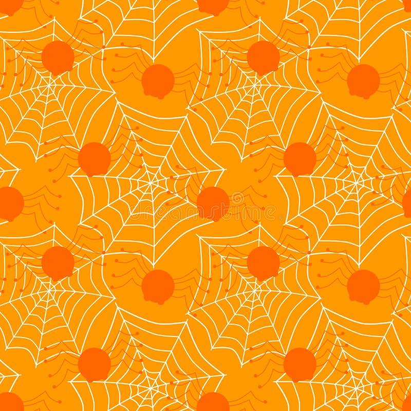 De naadloze spinnen en van Webmaïskolven achtergrond van Halloween royalty-vrije illustratie