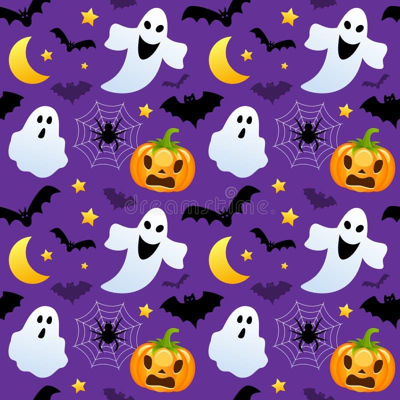 De Naadloze Spoken & de Pompoenen van Halloween stock illustratie