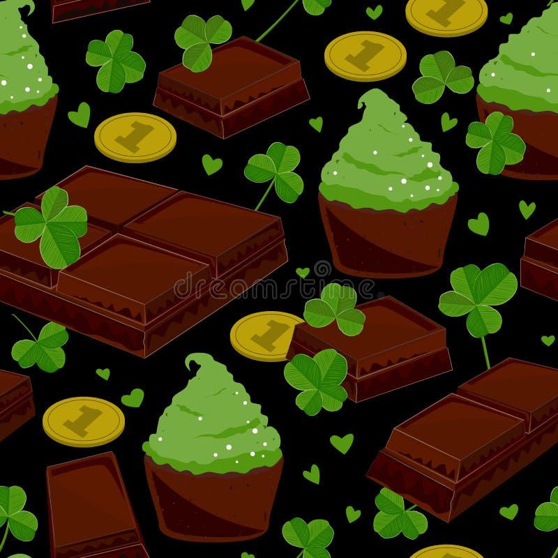 De naadloze St Patrick ` s dagachtergrond met klaver verlaat chocoladerepen, groene cupcakes, en muntstukken Vector illustratie vector illustratie
