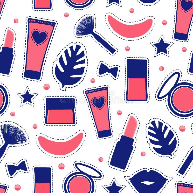 De naadloze stijl van de patroonmanier De vastgestelde van de make-up Abstracte kosmetische flessen van de tekenschoonheid Vector royalty-vrije illustratie