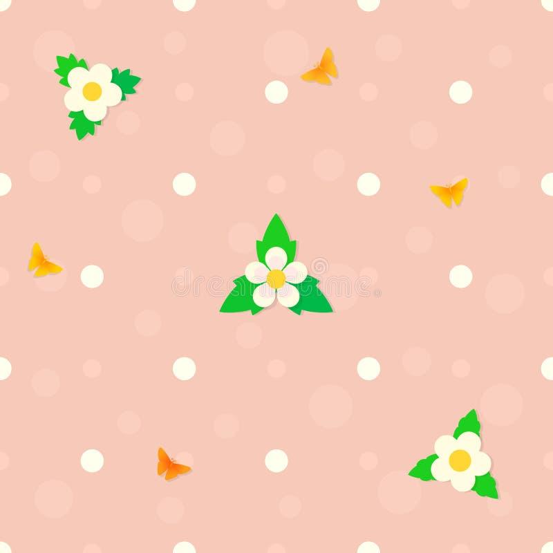 De naadloze stip roze achtergrond met aardbeibloemen, groene bladeren, vliegende vlinders, borrelt Vector royalty-vrije illustratie