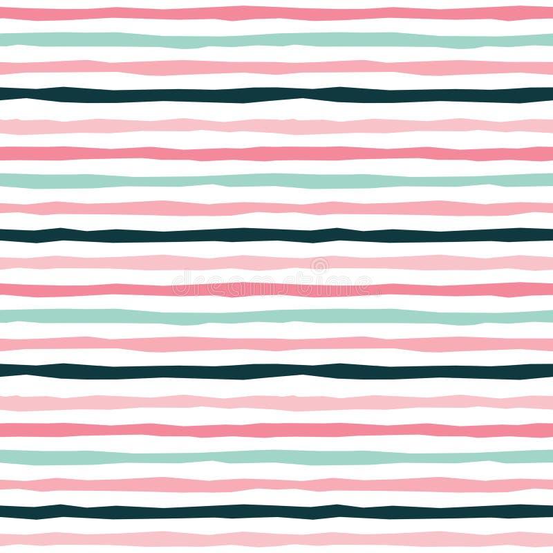 De naadloze strepenachtergrond in bloost roze muntzwarte royalty-vrije illustratie