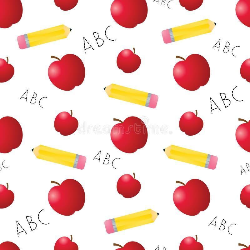 De Naadloze Tegel van appelen en van Potloden royalty-vrije illustratie