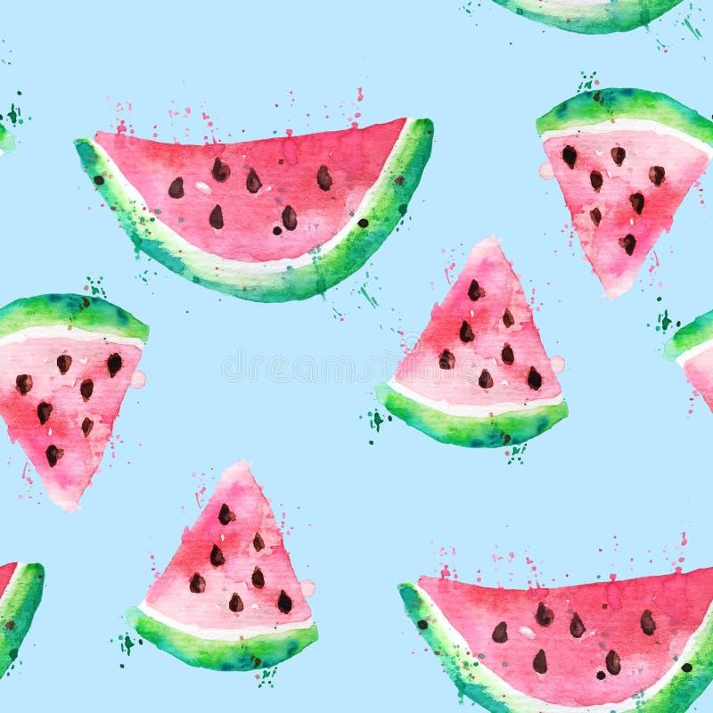 De naadloze tekening van de patroonwaterverf van plakken van watermeloen met zaden en verfplonsen Brokken van watermeloen op een  stock fotografie