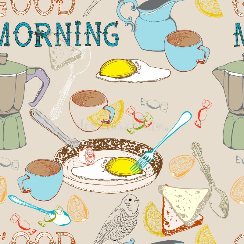 De naadloze uitstekende achtergrond van het ochtendontbijt stock illustratie