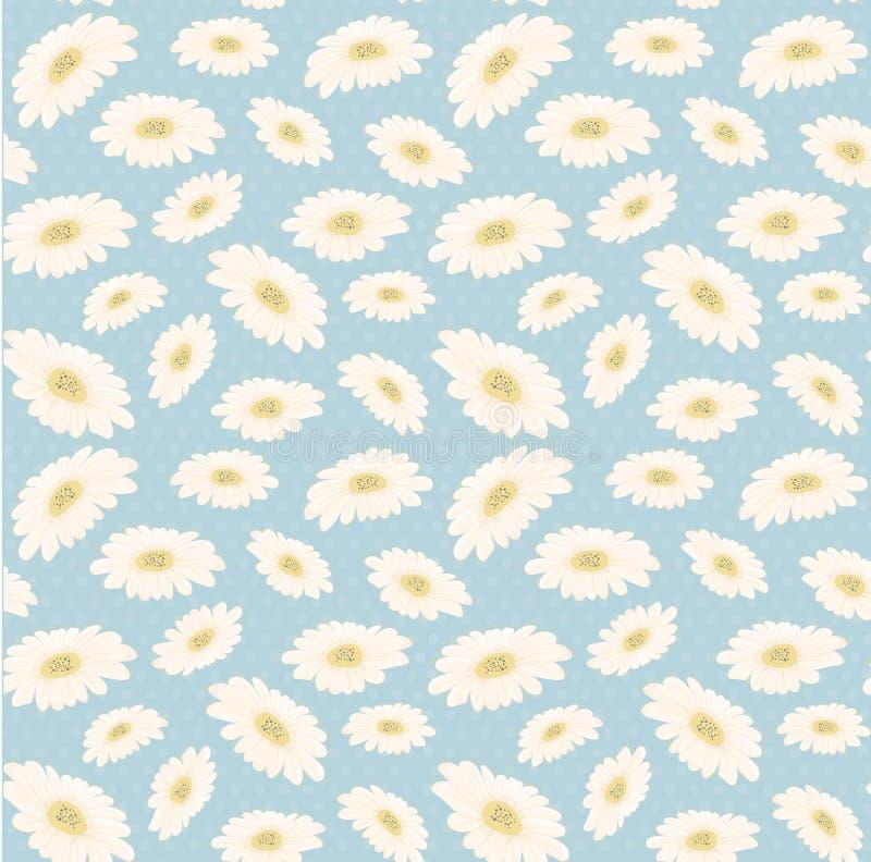 de naadloze uitstekende bloem van de patroonhand getrokken margriet royalty-vrije stock afbeeldingen