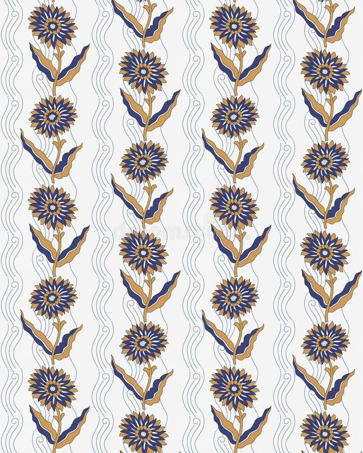 De naadloze uitstekende bloemenachtergrond van het bloemontwerp stock illustratie