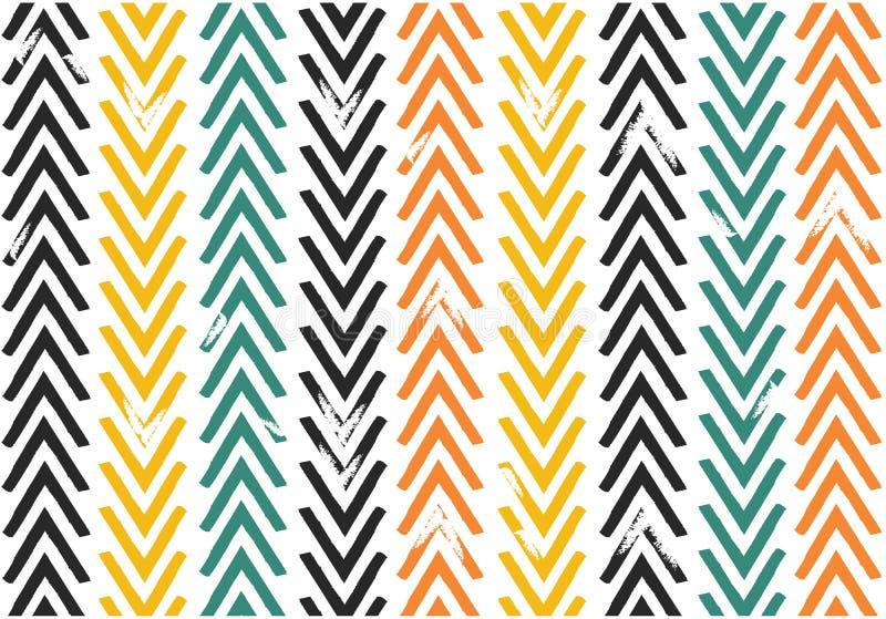 De naadloze uitstekende van de de Chevronzigzag van de kleurentoon vector van de het patroonillustratie stock foto's