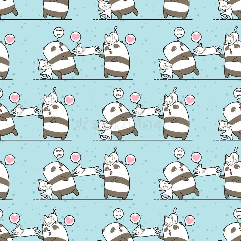 De naadloze van de kawaiipanda en kat karakters houden van ons vriendschapspatroon stock illustratie