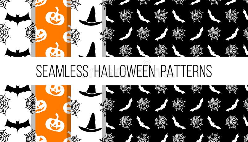 De naadloze vector geplaatste patronen van Halloween royalty-vrije illustratie