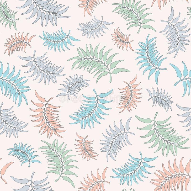 De naadloze vector herhaalt patroon van bladeren van pastelkleur de tropische bladeren De tropische achtergrond van het het patro vector illustratie