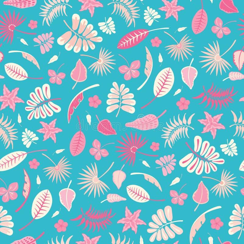 De naadloze vector herhaalt patroon van tropische gebladerte en bloemen Het kleurrijke ontwerp van het oppervlaktepatroon royalty-vrije illustratie