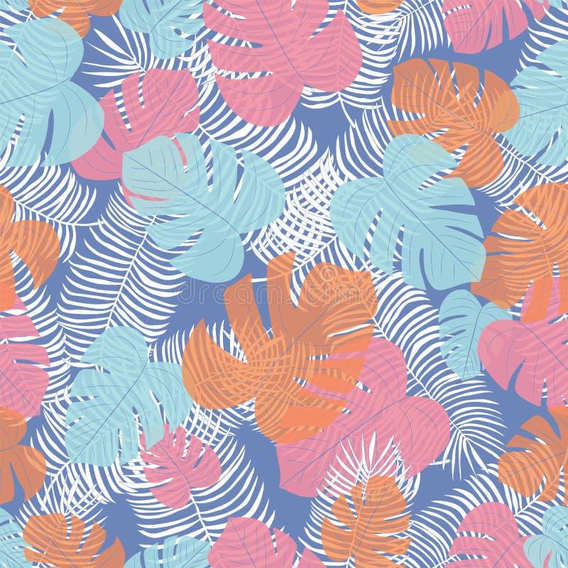 De naadloze vector herhaalt tropisch bladpatroon met een blauwe achtergrond stock afbeeldingen