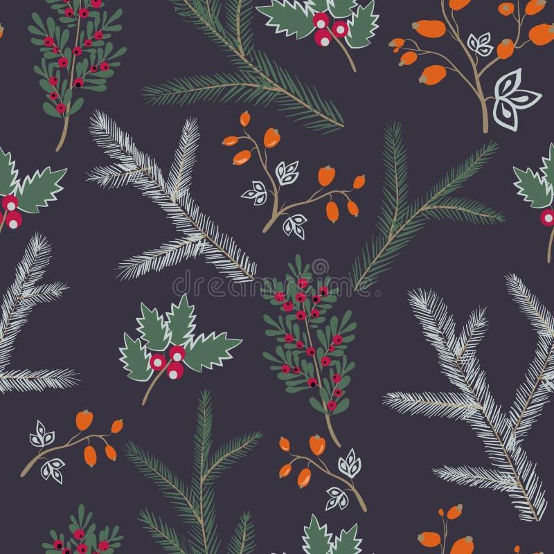 De naadloze vector teruggetrokken hand van de Kerstmistextuur van de patroonwinter royalty-vrije illustratie
