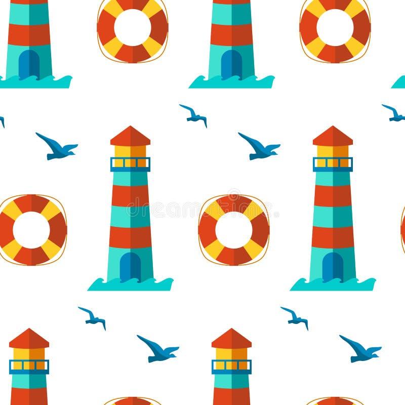 De naadloze vector van patronen zeevaartelementen royalty-vrije illustratie