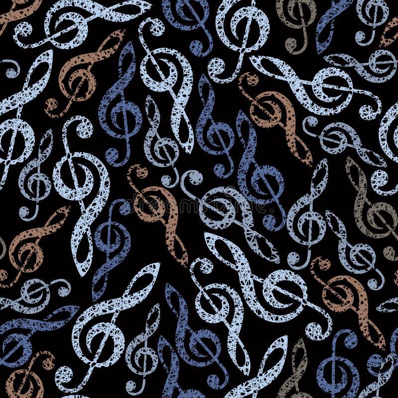 De naadloze vectorachtergrond van het muziekthema, naadloos patroon met cl vector illustratie