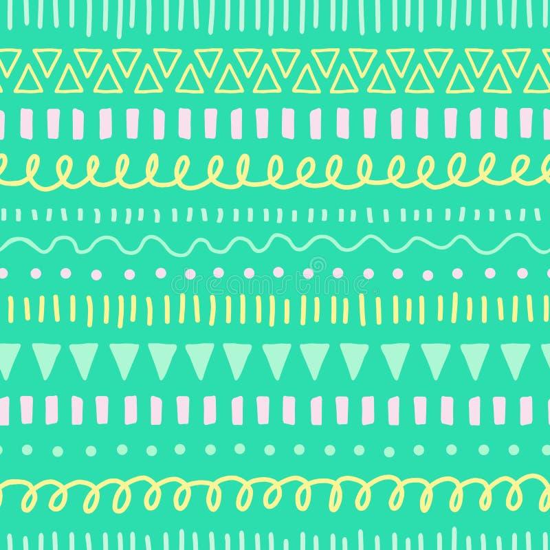 De naadloze vectorachtergrond van jonge geitjeskrabbels Etnisch en stammen groen stijlpatroon, geel, wintertaling, roze Hand getr royalty-vrije illustratie