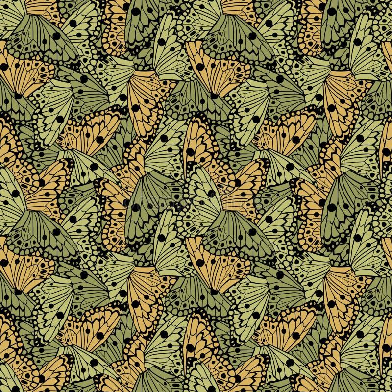 De naadloze vectorachtergrond van vlindersvleugels stock illustratie