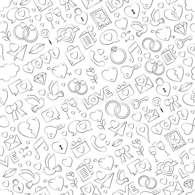 De naadloze vectorillustratie van het liefdepatroon - tekening uit de vrije hand Herhaalbare liefde vectorachtergrond - de inzame stock illustratie