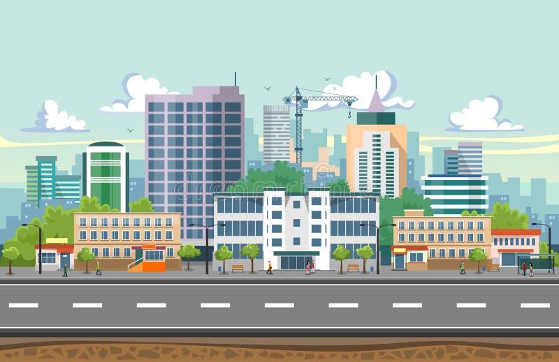De naadloze vectorillustratie van het stadslandschap Het landschap van de de zomerstad in vlak ontwerp Moderne stadsachtergrond m royalty-vrije illustratie