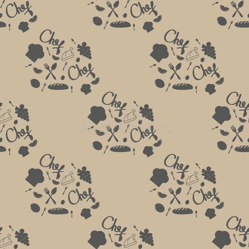 De naadloze vectortextuur van het keukenpatroon Inzameling van de bakkerij de Eenvoudige Dunne Lijn royalty-vrije illustratie