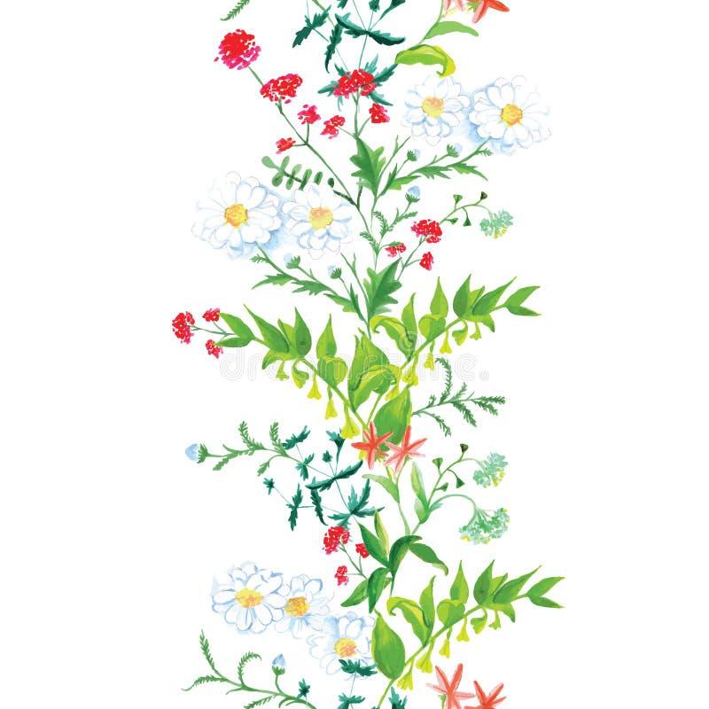 De naadloze verticale vectorband van de de zomerweide royalty-vrije illustratie