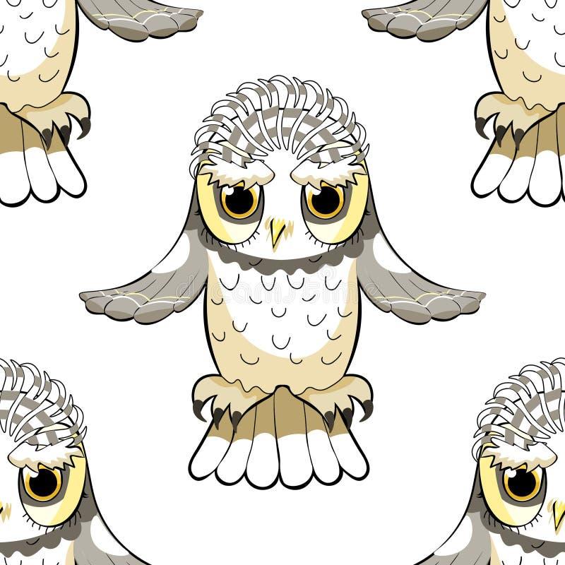 De naadloze vogel van patroonhowlet met opgeheven vleugels Vector illustrat vector illustratie