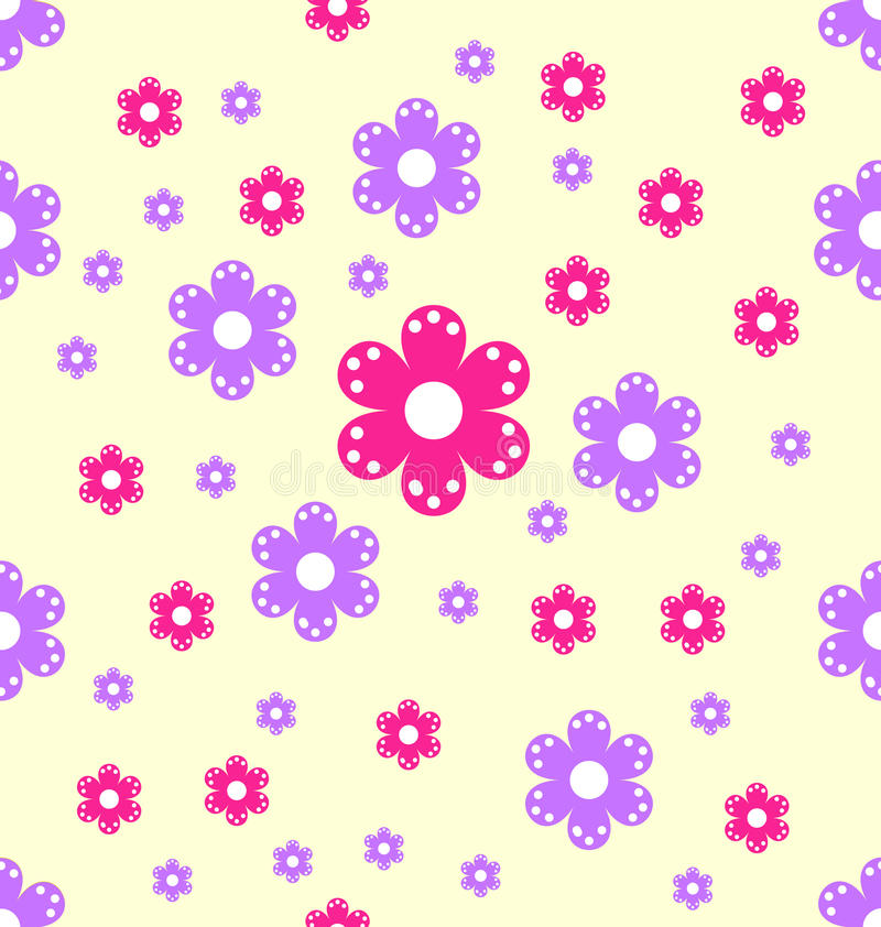 De naadloze vormen van de patroon roze en purpere bloem vector illustratie