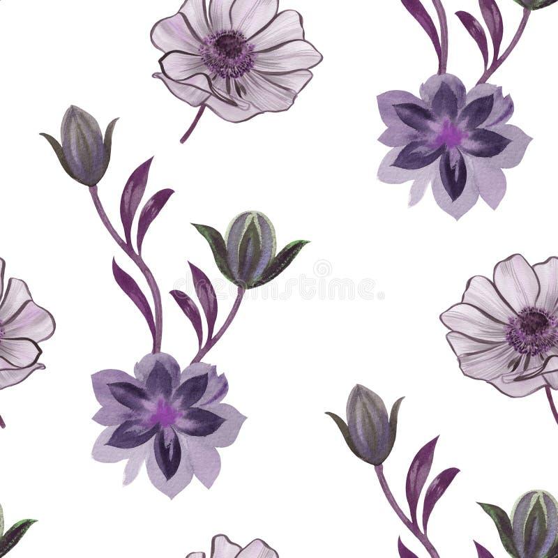 De naadloze waterverf bloeit patroon Hand geschilderde bloemen op een witte achtergrond Bloemen voor ontwerp Ornamentbloemen Naad vector illustratie