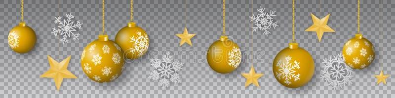 De naadloze de wintervector met het hangen van goud kleurde verfraaide Kerstmisornamenten, sterren en sneeuwvlokken op transparan vector illustratie
