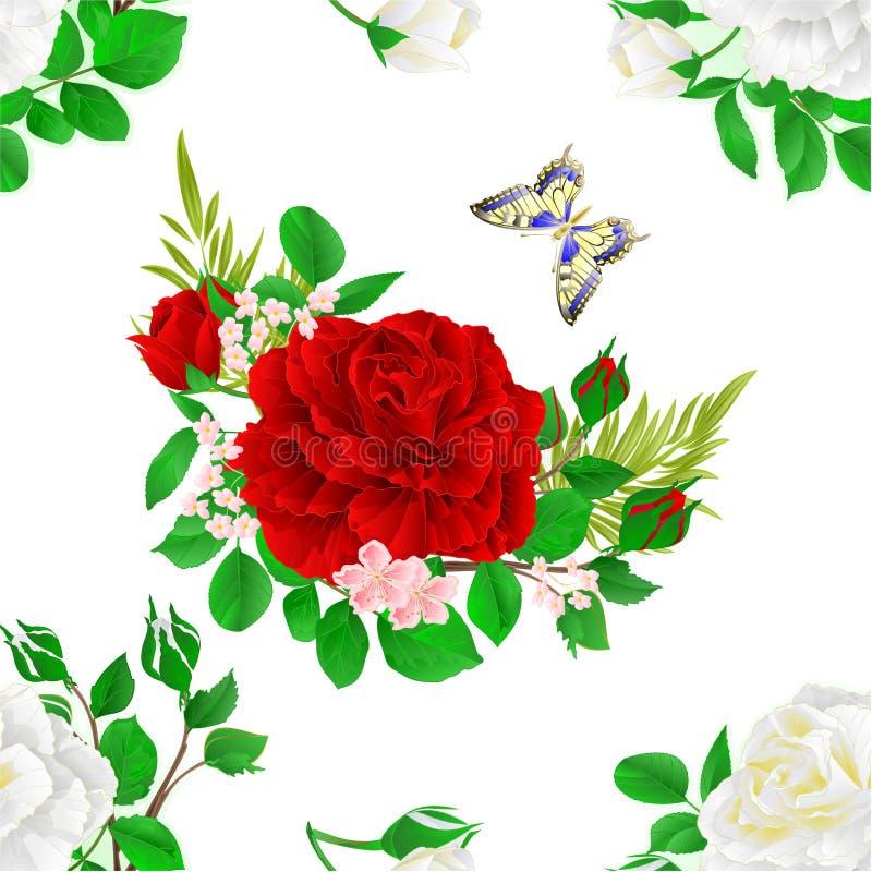 De naadloze witte en rode rozen en de knoppen van de textuurbloem en een vlinder uitstekende feestelijke vector editable illustra stock illustratie