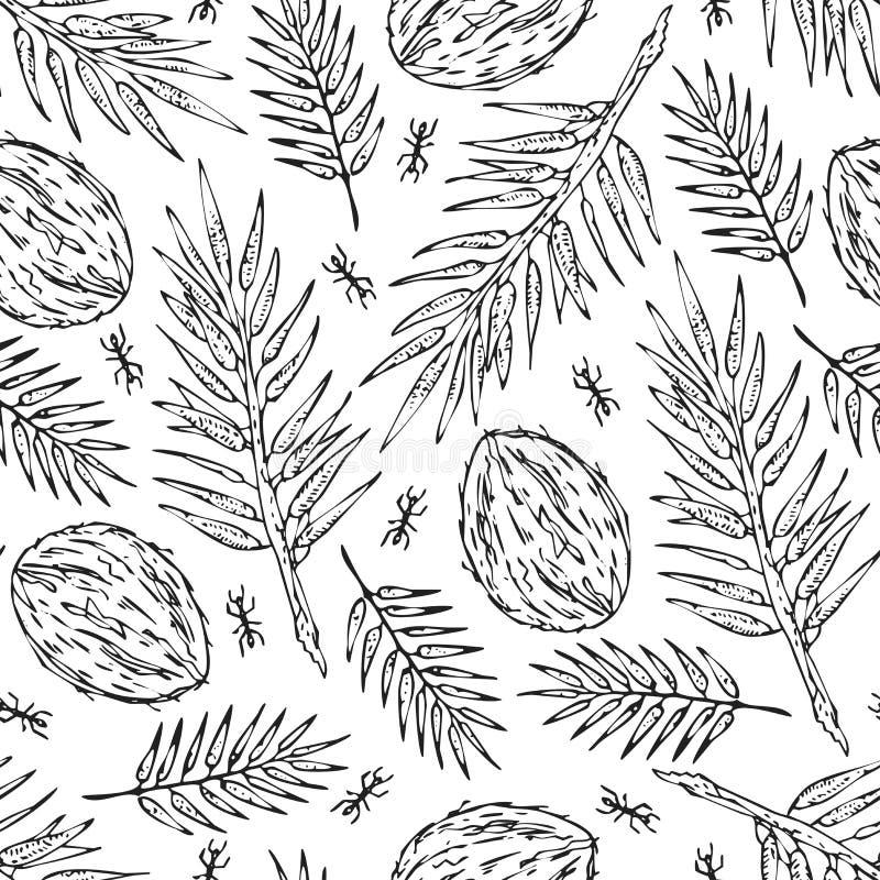 De naadloze witte schetswildernis vertakt zich de druk van de patroontextuur op witte achtergrond vector illustratie