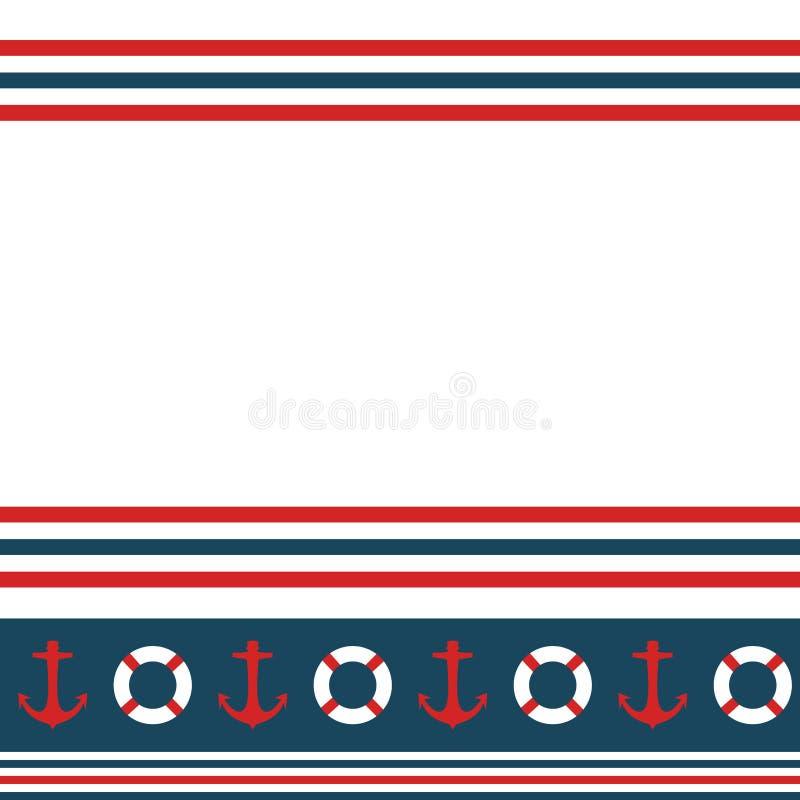 De naadloze zeevaart horizontale vector van het strepenpatroon met ankers en reddingsboeien marien kleurrijk uitstekend retro ont royalty-vrije illustratie