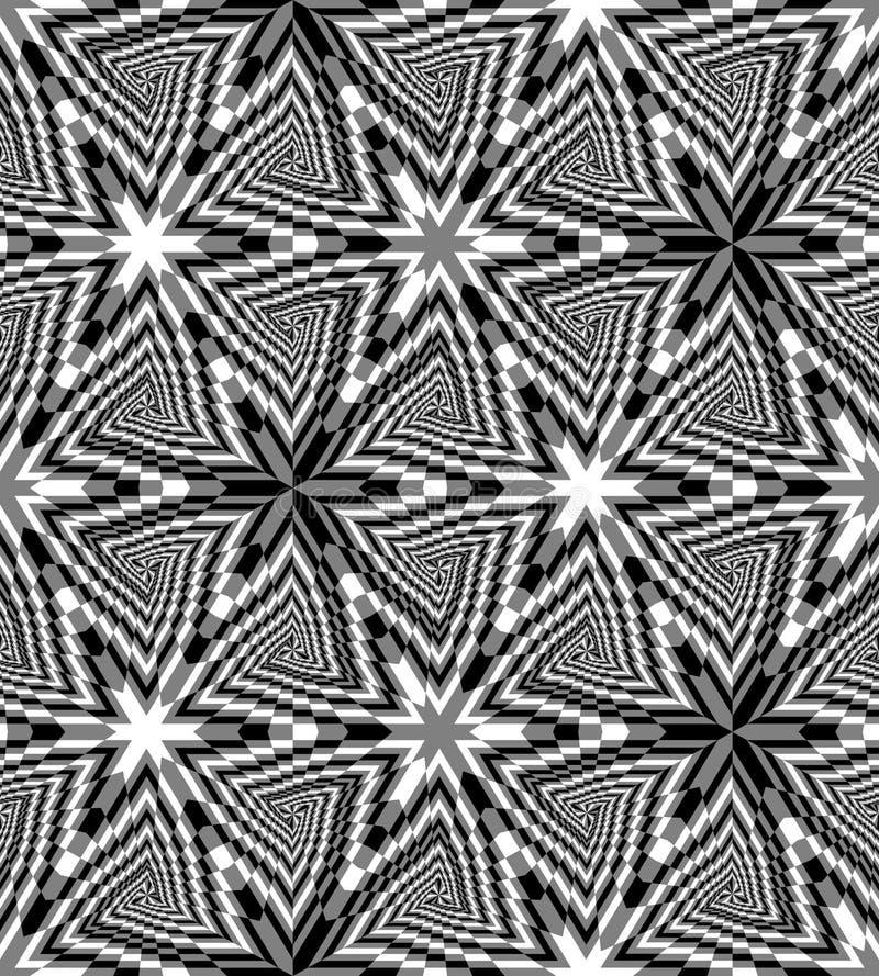 De naadloze Zwart-wit Driehoek beweegt Patroon spiraalsgewijs Geometrische abstracte veelhoekige achtergrond Optische illusie van stock illustratie