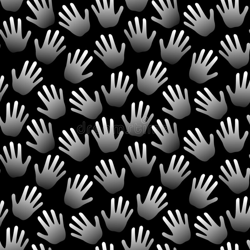 De naadloze zwart-witte achtergrond van handenpalmen stock illustratie