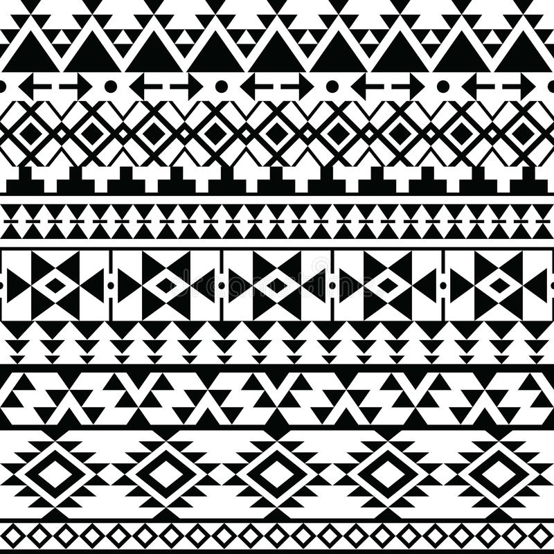 De naadloze zwarte druk van Navajo, Azteeks patroon, Stammenontwerp vector illustratie