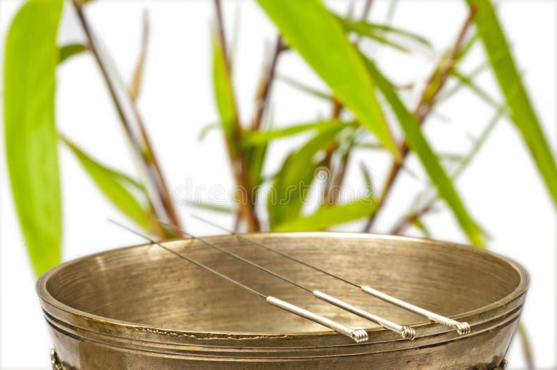 De naalden van de acupunctuur stock fotografie