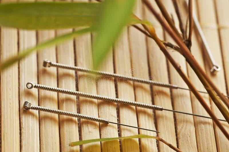 De naalden van de acupunctuur royalty-vrije stock foto's