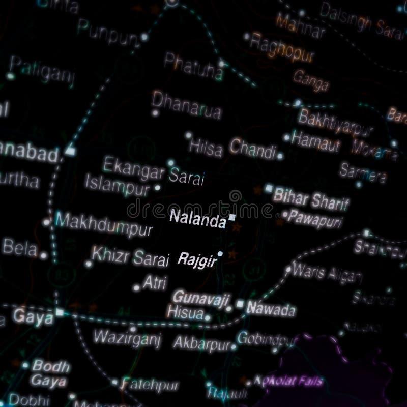 De naam van de stad nalanda op de geografische kaart in India royalty-vrije stock fotografie