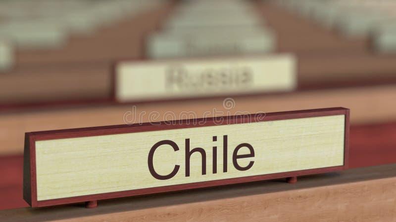 De naamteken van Chili onder de verschillende plaques van landen bij internationale organisatie het 3d teruggeven vector illustratie