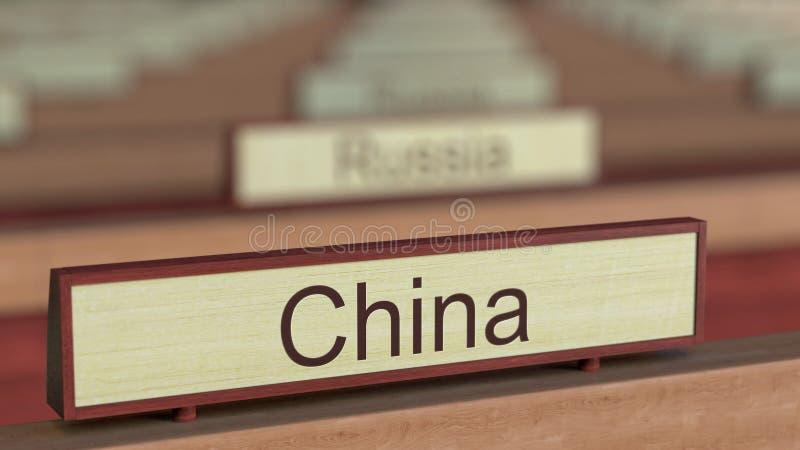 De naamteken van China onder de verschillende plaques van landen bij internationale organisatie het 3d teruggeven stock illustratie