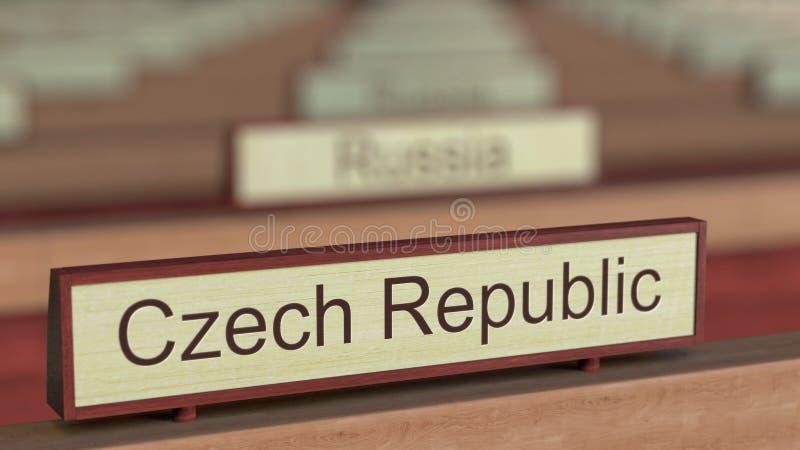 De naamteken van de Tsjechische Republiek onder de verschillende plaques van landen bij internationale organisatie het 3d terugge stock illustratie